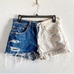 501 LEVI Vintage Distressed Shorts Two Tone